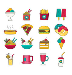 fast food icons flat vector image