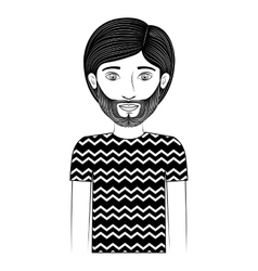 Half body silhouette guy with beard vector