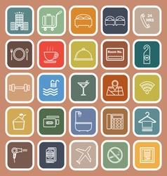 Hotel line flat icons on orange background vector