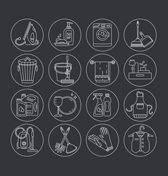 House cleaning thin line icon set vector