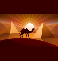 Landscape desert - camel vector