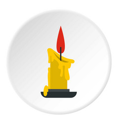melting candle icon circle vector image