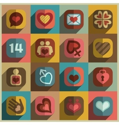 Modern flat heart valentine icons vector