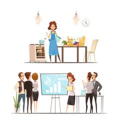 Motherhood cartoon work family concept vector