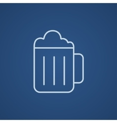Mug of beer line icon vector image