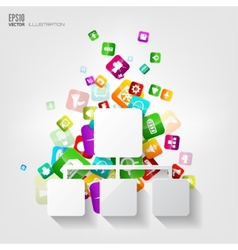 Network iconApplication buttonSocial mediaCloud vector image vector image