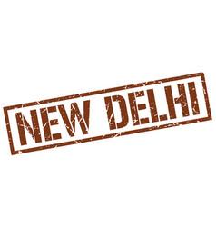 New delhi brown square stamp vector