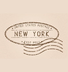 New york mail stamp old faded retro styled vector
