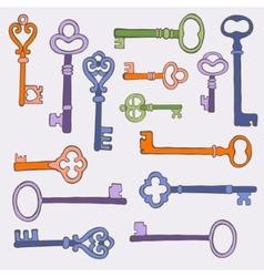 Retro keys stylish background vector image vector image