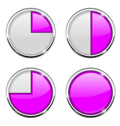 Round loading progress icon purple and white sign vector