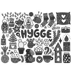 scandinavian doodles elements vector image vector image