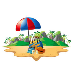 summer theme with accessories on beach vector image