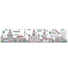 Travel in russia country line flat design banner vector