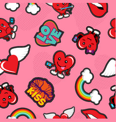 Valentines day social love emoji patch background vector