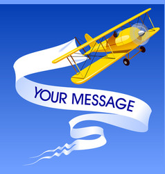 vintage yellow airplane with a banner vector image