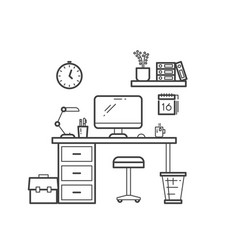 workspace line concept - outline workplace with vector image vector image