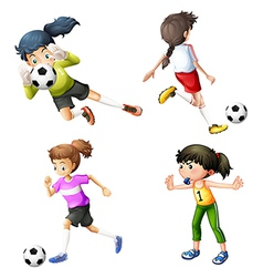 Four girls playing soccer vector