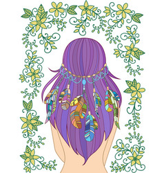 girl with feathers in her hair and floral pattern vector image