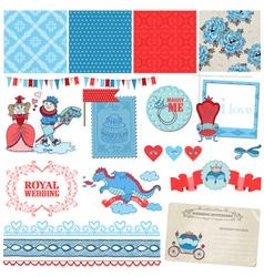 Princess and Prince Wedding Vintage Set vector image