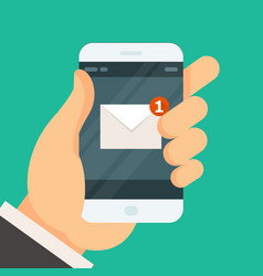 New incoming message on smartphone - email vector