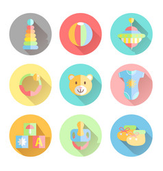 Newborn infant themed cute flat icon set baby vector