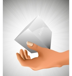 Cube in the palm of your hand vector