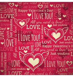 Red background with valentine heart vector
