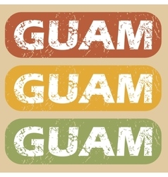 Vintage guam stamp set vector