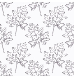 Hand drawn chervil branch outline seamless pattern vector