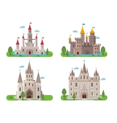 Medieval ancient castles set vector
