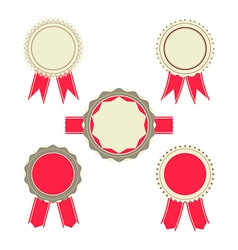 Retro red color set of ribbon banner badges vector
