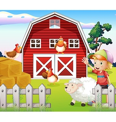 A boy at the farmhouse with animals vector image vector image