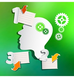 Abstract Infographic Layout with Paper Head Cogs vector image