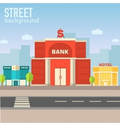 Bank building in city space with road on flat syle vector