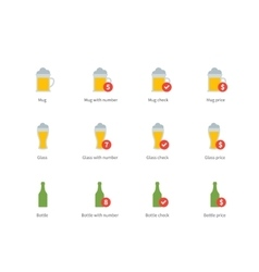 Beer colour icons on white background vector