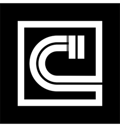 Capital letter c from white stripe enclosed in a vector