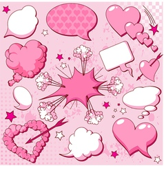 Comics style valentine speech bubbles vector