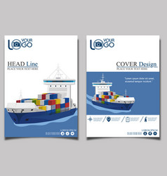 Commercial sea shipping banner template set vector