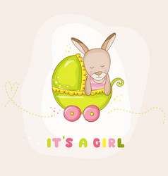 Cute baby girl kangaroo in a carriage baby shower vector