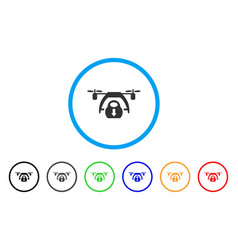 drone unloading rounded icon vector image