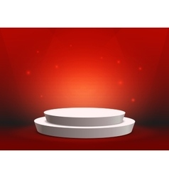 Empty template of white round podium on red vector