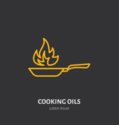 Fire extinguisher flat line sign of cooking oils vector