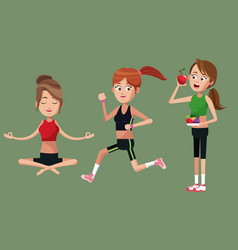 group female sport food healthy vector image