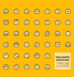 Halloween pumpkin smiles set vector