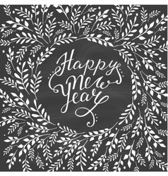 Happy new year card Hand lettering with floral vector image
