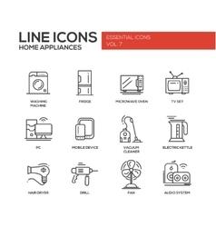 Home Appliances - simple line design icons set vector image