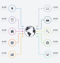 Infographic design template 10 options vector