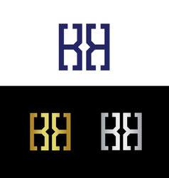 Initials with reflected letter K vector image vector image
