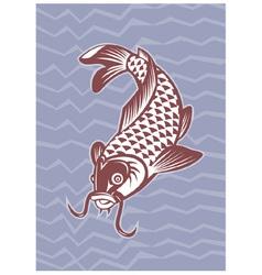 Koi carp swimming down vector