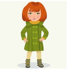 little girl in winter clothes vector image vector image